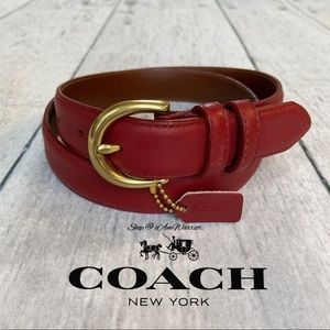 Authentic Coach red leather skinny belt